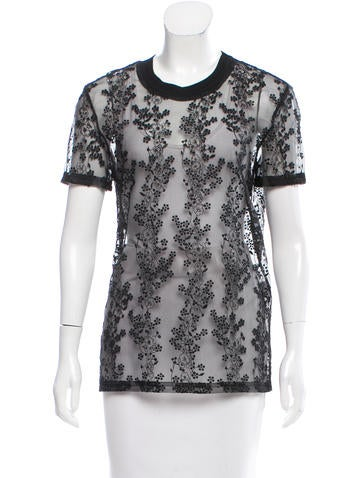Carven Semi-Sheer Floral Top None