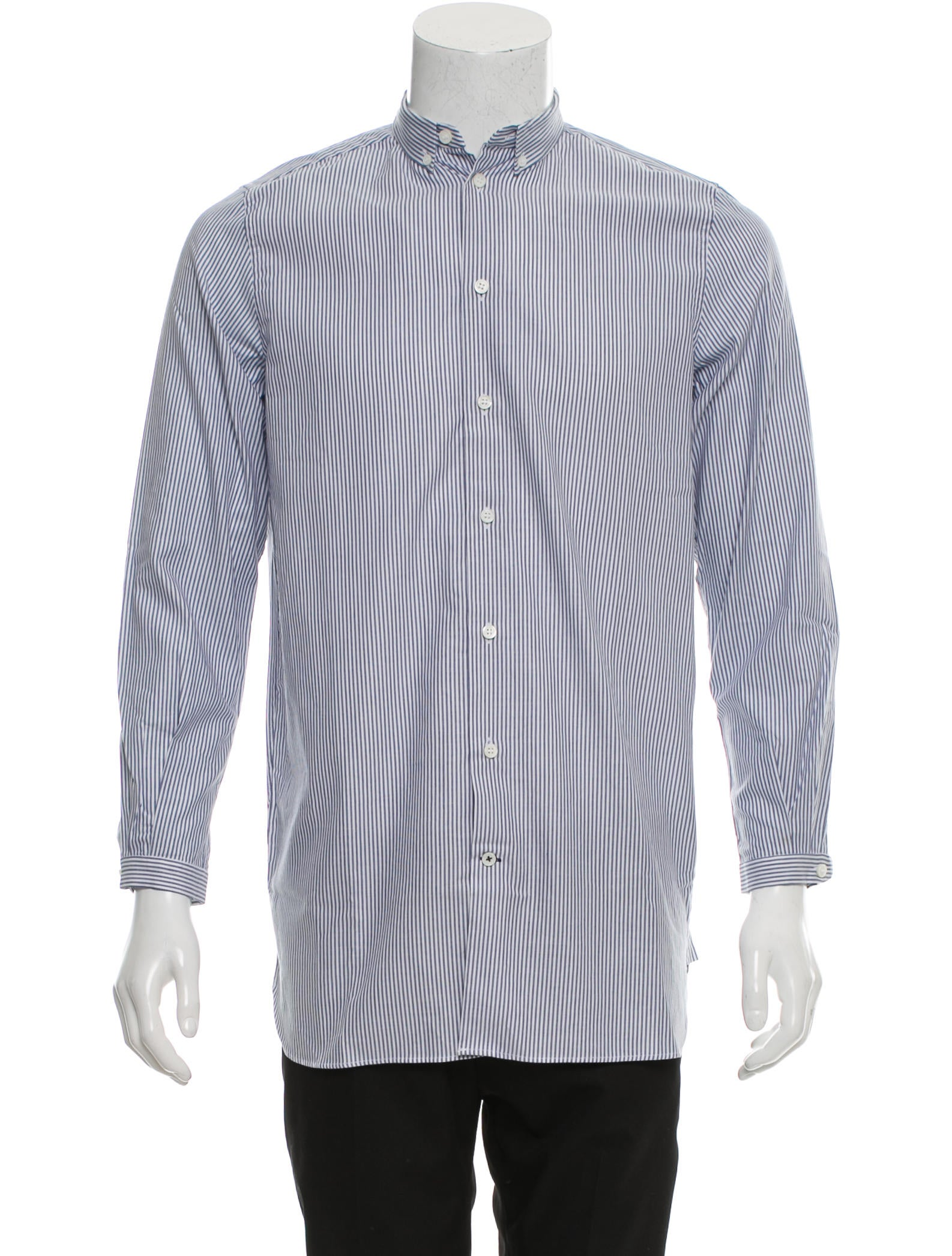 Carven striped button up shirt clothing cav26664 the for Striped button up shirt mens