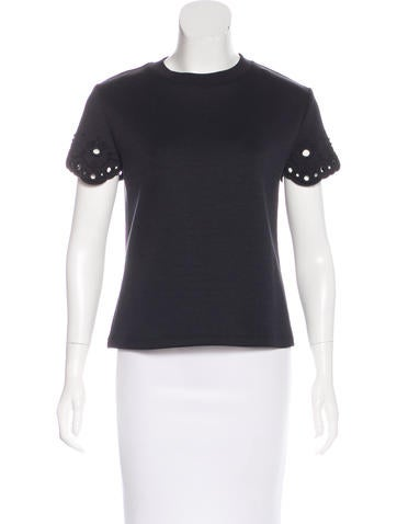 Carven Embroidered Knit Top None