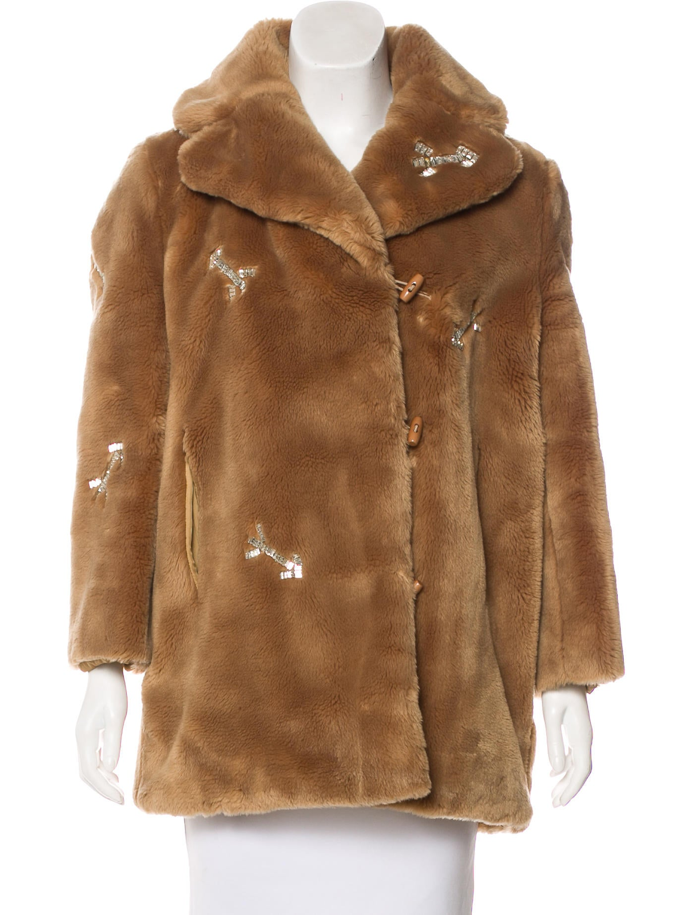 Carven Rhinestone Embellished Faux Fur Coat Clothing