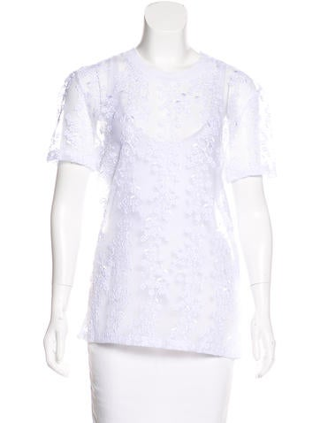 Carven Embroidered Short Sleeve Top None