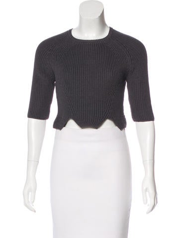 Carven Rib Knit Cropped Sweater None