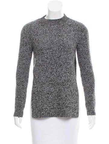 Carven Mock Neck Rib Knit Sweater None