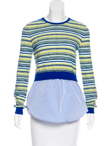 Carven Striped Flounce Hem Sweater None