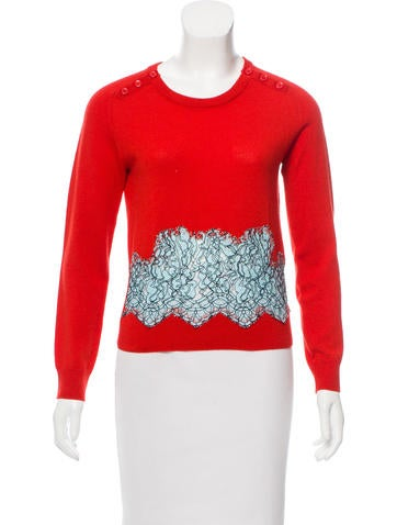 Carven Lace-Paneled Wool Sweater None
