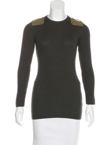 Carven Rib Knit Long Sleeve Sweater None