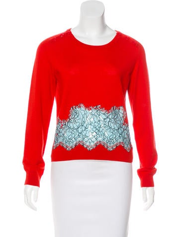 Carven Wool Lace-Trimmed Top None