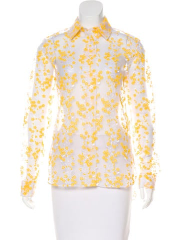 Carven Embroidered Button-Up Top None