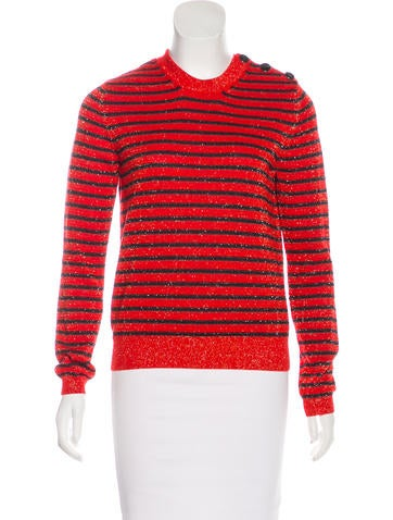 Carven Wool-Blend Metallic Knit Sweater None
