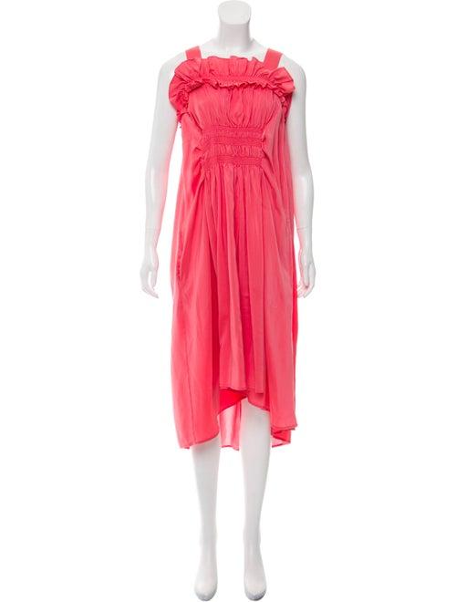 Carven Smocked Silk Dress Pink