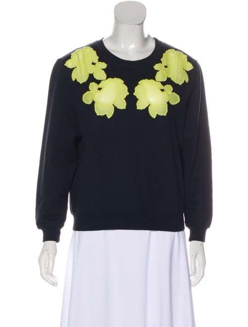 Carven Embroidered Long Sleeve Sweater Navy