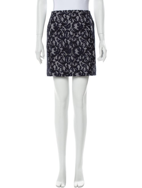 Carven Printed Mini Skirt Blue