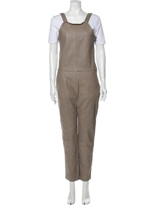 Carven Leather Scoop Neck Jumpsuit w/ Tags