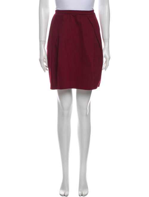 Carven Pleated Accents Mini Skirt Red