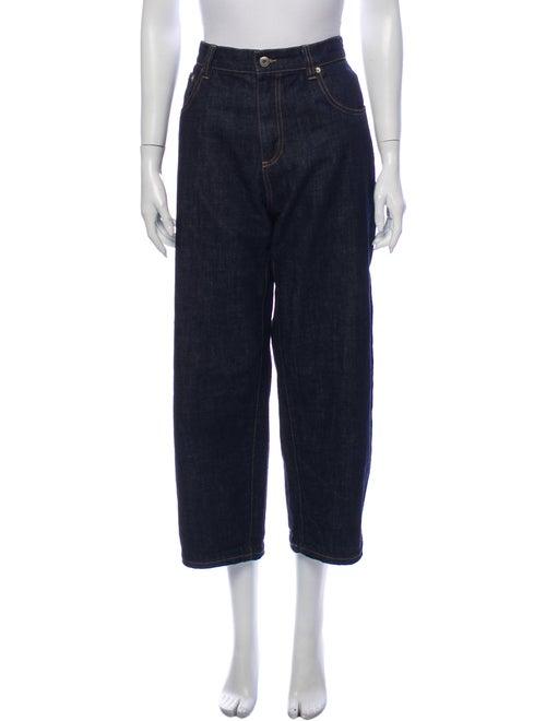 Carven High-Rise Straight Leg Jeans Blue