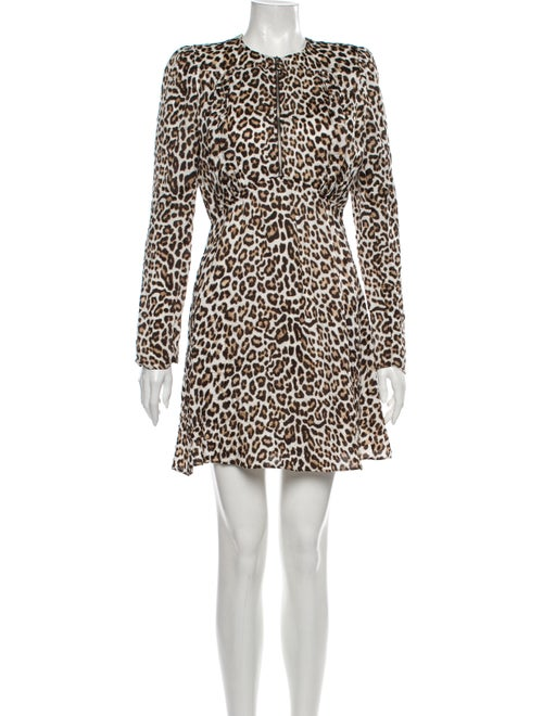 Carven Animal Print Mini Dress Brown