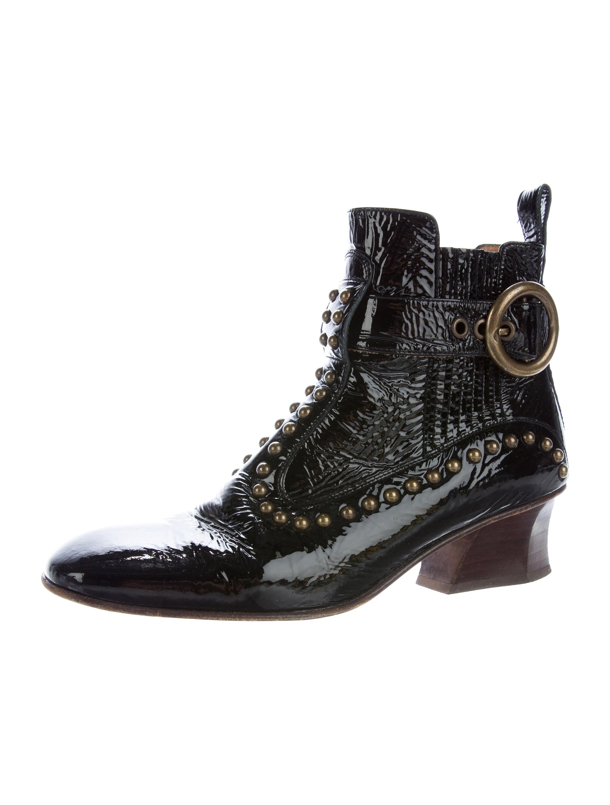 coach studded patent leather ankle boots shoes