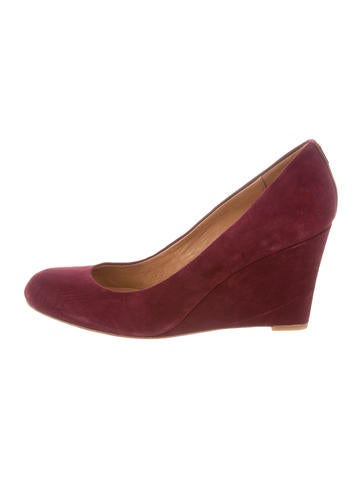Coach Suede Round-Toe Wedges None