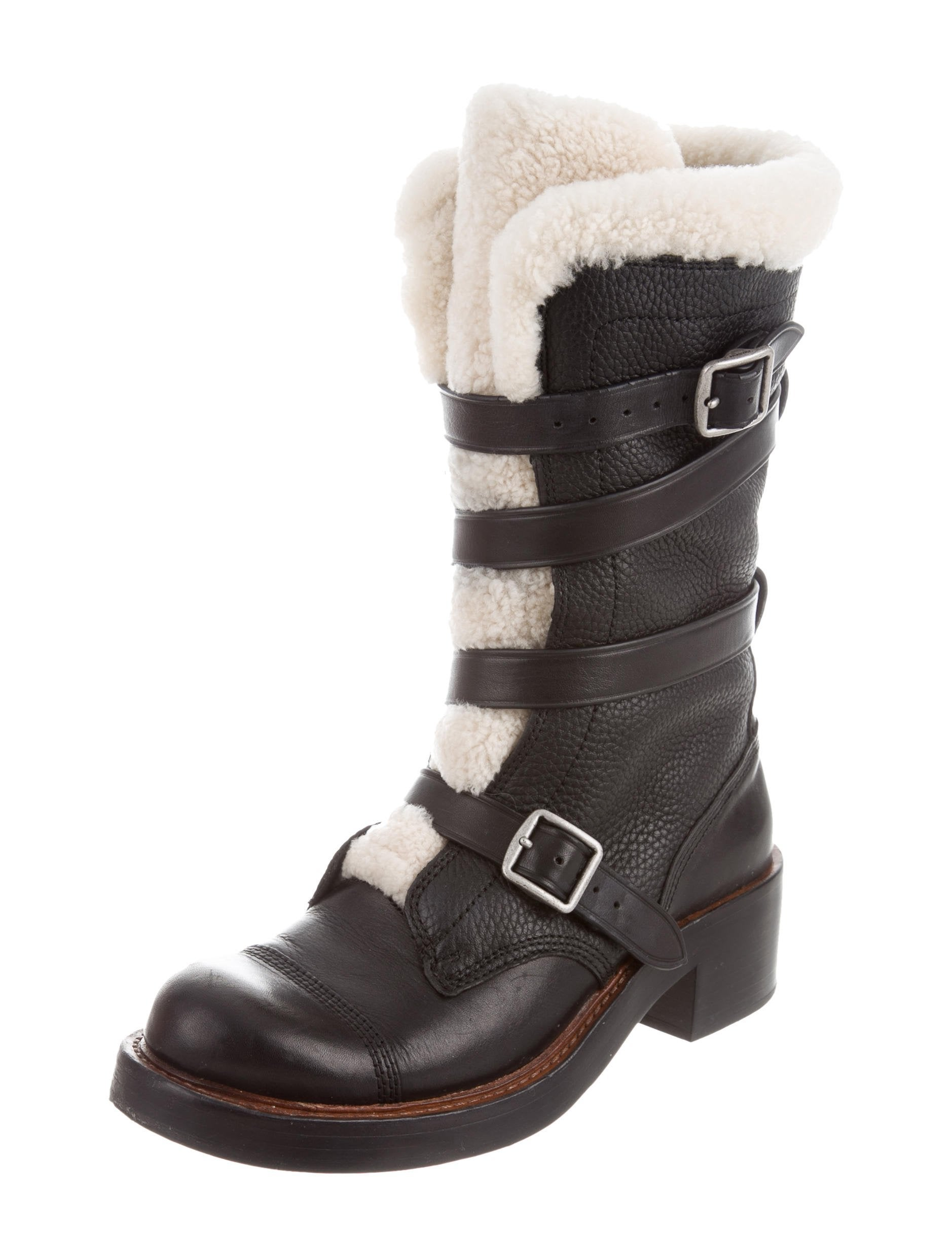Coach Shearling-Trimmed Mid-Calf Boots 2014 new online low cost online rhU4YG