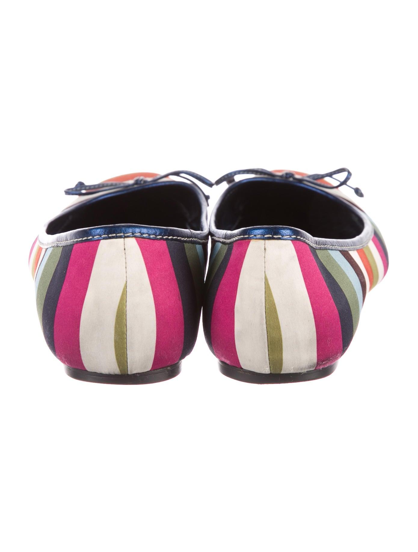 Coach Striped Satin Flats Shoes CCH