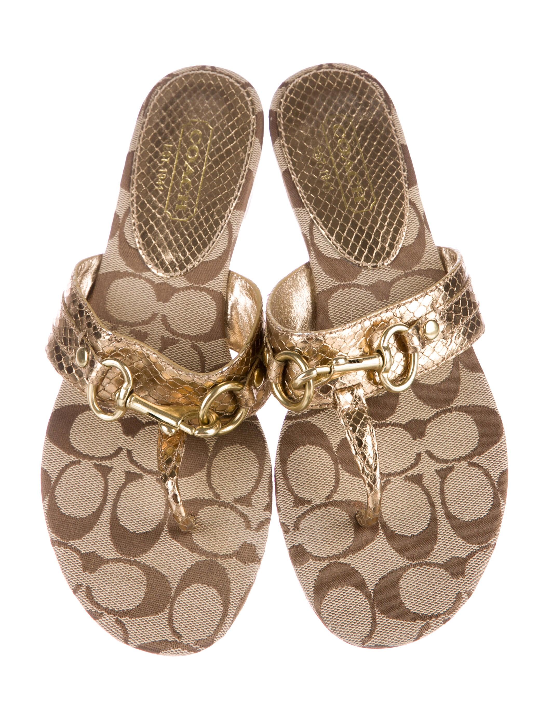 Coach Metallic Monogram Sandals Shoes CCH