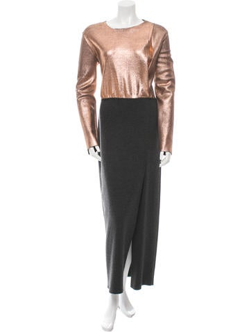 Cédric Charlier Metallic-Accented Virgin Wool Dress