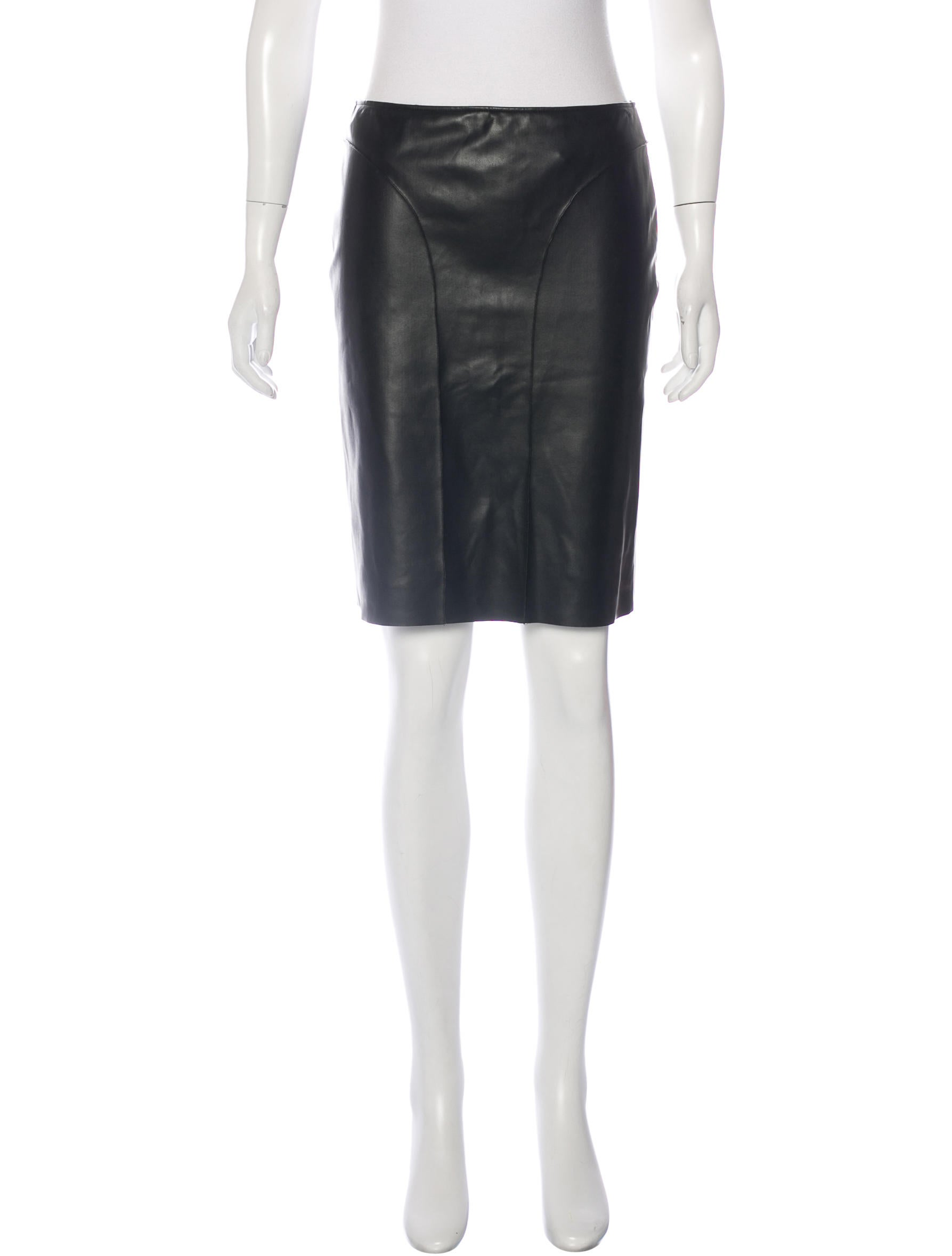 c 233 dric charlier knee length leather skirt clothing