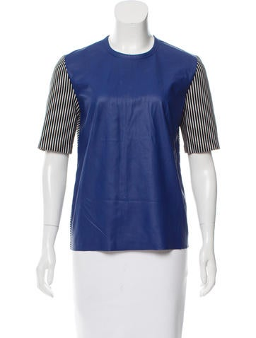 Cédric Charlier Striped Faux Leather Top None