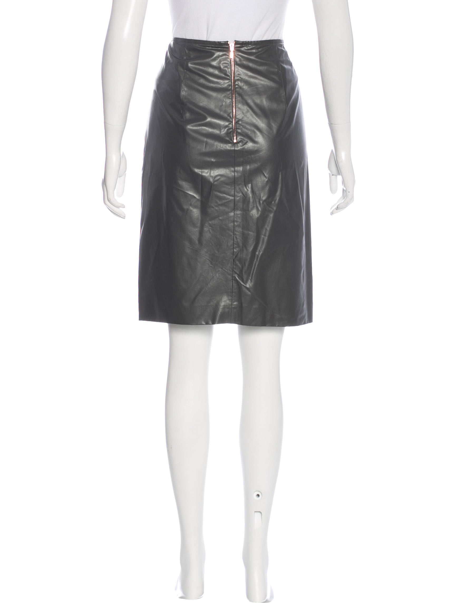 c 233 dric charlier faux leather knee length skirt clothing