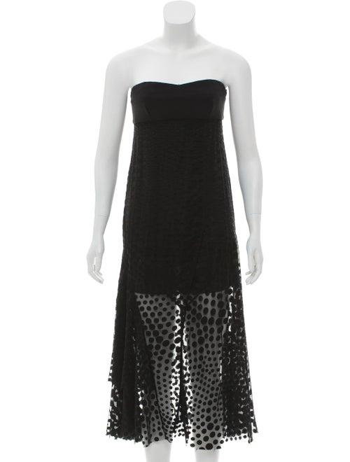 Cédric Charlier Strapless Fil-Coupé Dress Black