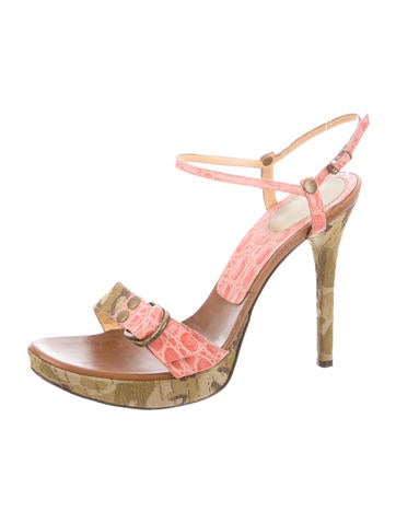 Embossed Ankle Strap Sandals