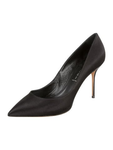 Satin Pointed-Toe Pumps