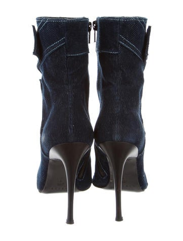 Corduroy Pointed-Toe Ankle Boots
