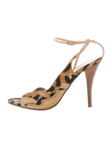 Casadei Leopard Leather Sandals None