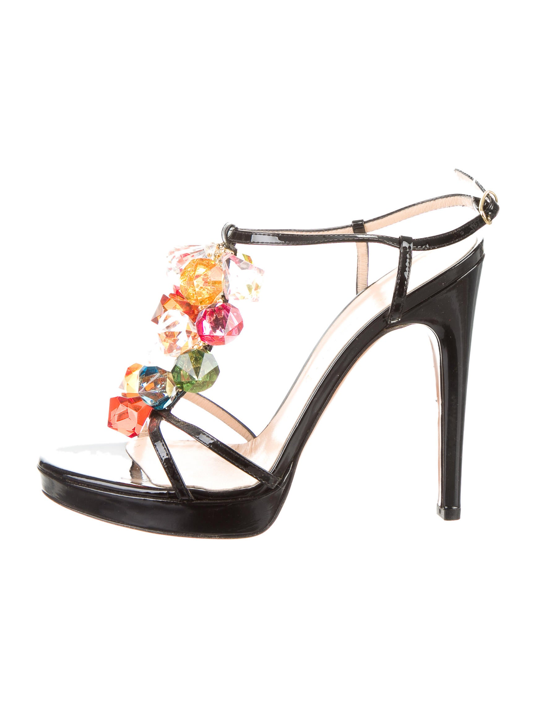 Casadei Embellished Patent Leather Sandals cheap recommend vNfleMk4A