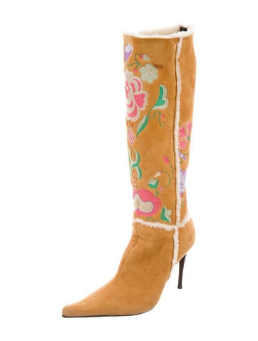 casadei embroidered suede boots shoes cei22258 the