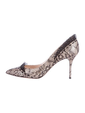 Casadei Pointed-Toe Lace Pumps None