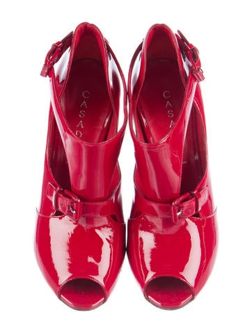 Peep-Toe Patent Leather Ankle Boots