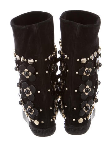 casadei floral embellished wedge ankle boots shoes