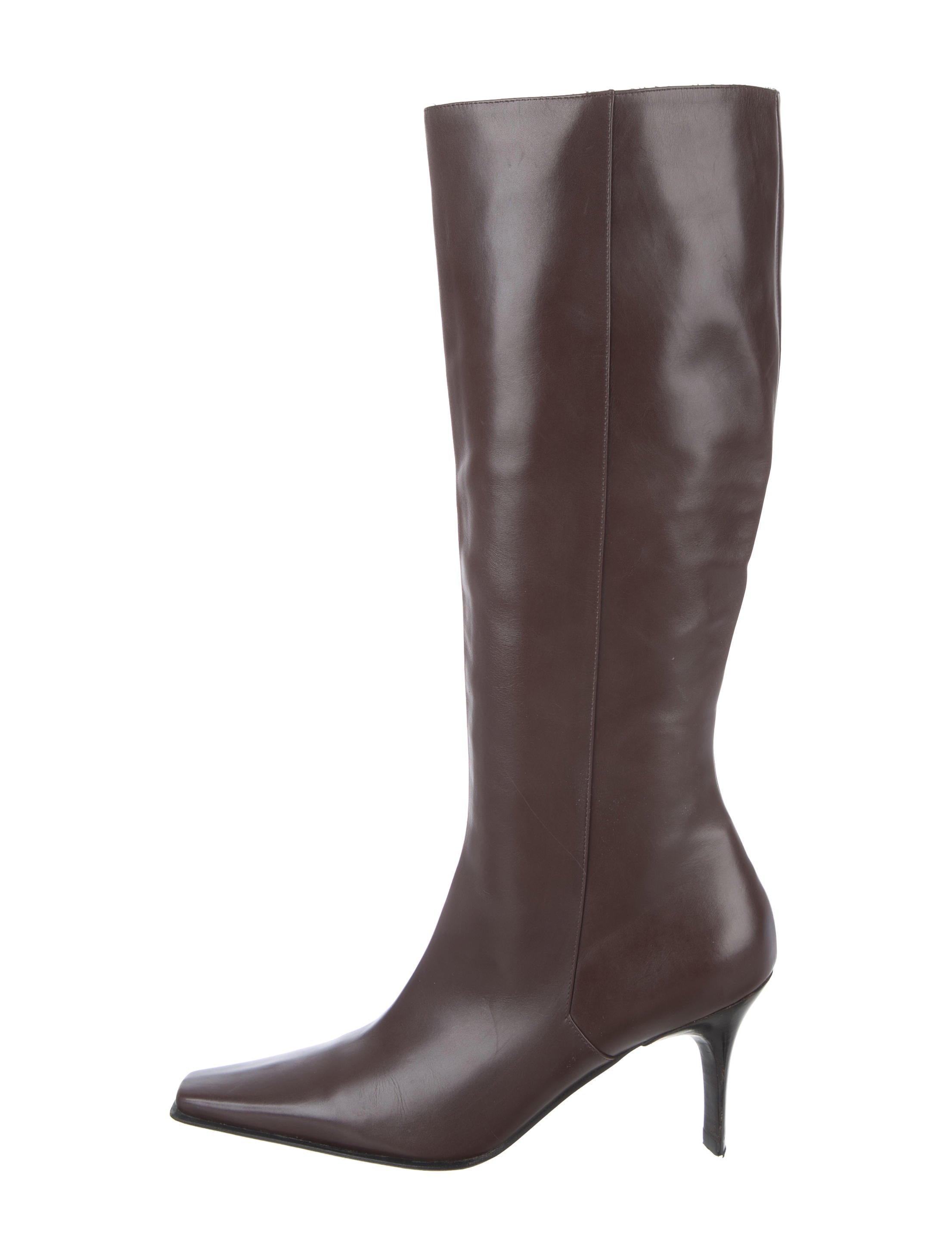 casadei leather knee high boots shoes cei22752 the realreal. Black Bedroom Furniture Sets. Home Design Ideas