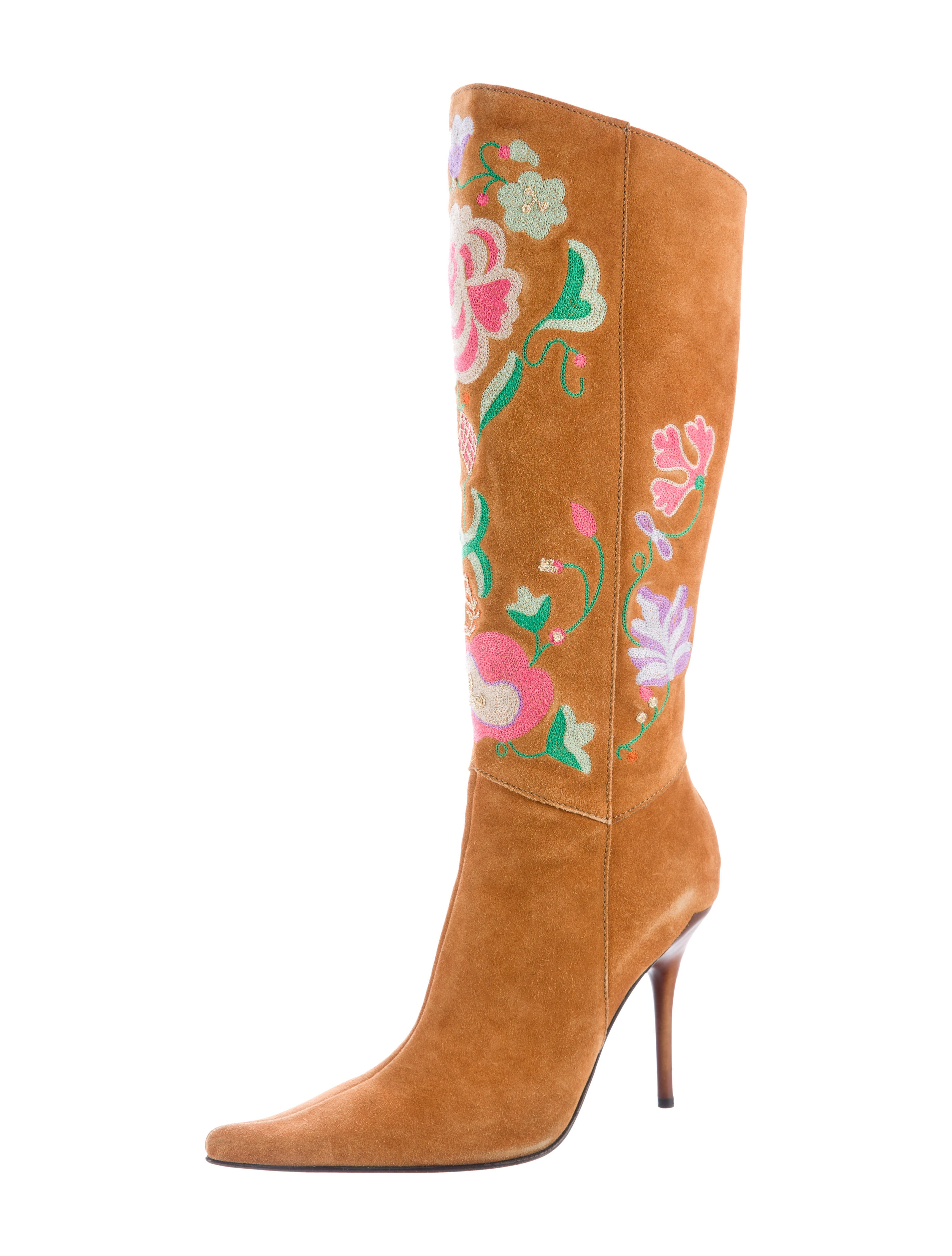 casadei embroidered suede boots shoes cei22797 the
