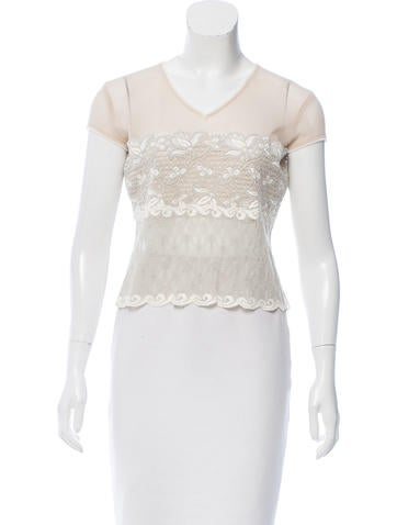 Casadei Mesh Lace-Trimmed Top None
