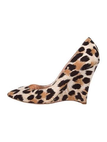 Casadei Satin Leopard Peep-Toe Wedges None