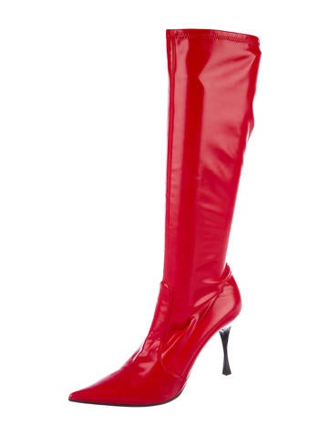 sale store for sale under $60 Casadei Ponyhair-Accented Knee-High Boots aVZVHN9