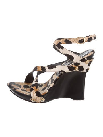 Casadei Leopard Crossover Wedges None