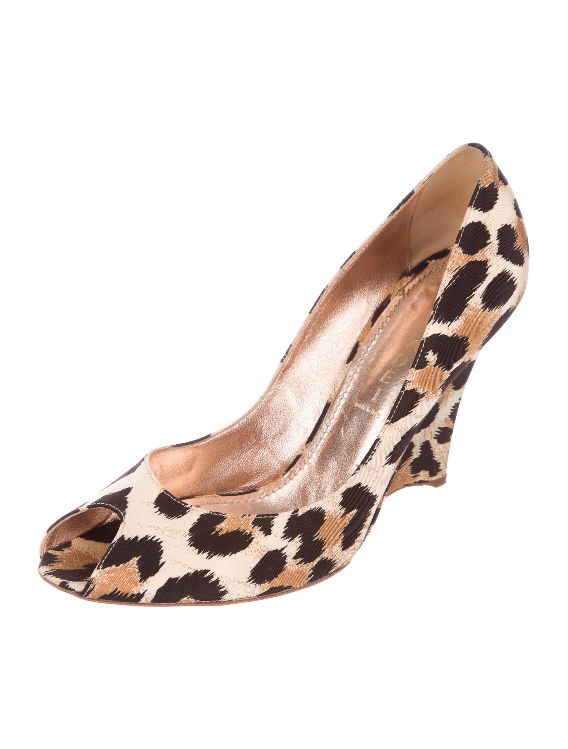 clearance marketable Casadei Satin Leopard Peep-Toe Wedges clearance collections cheap online shop hVzrr6J3Q