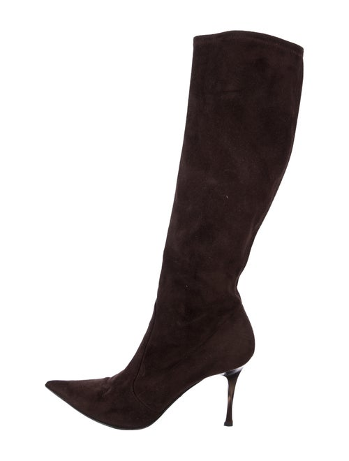 Casadei Suede Knee-High Boots Brown