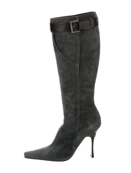 Casadei Suede Knee-High Boots Grey