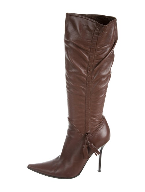 Casadei Leather Knee-High Boots brown
