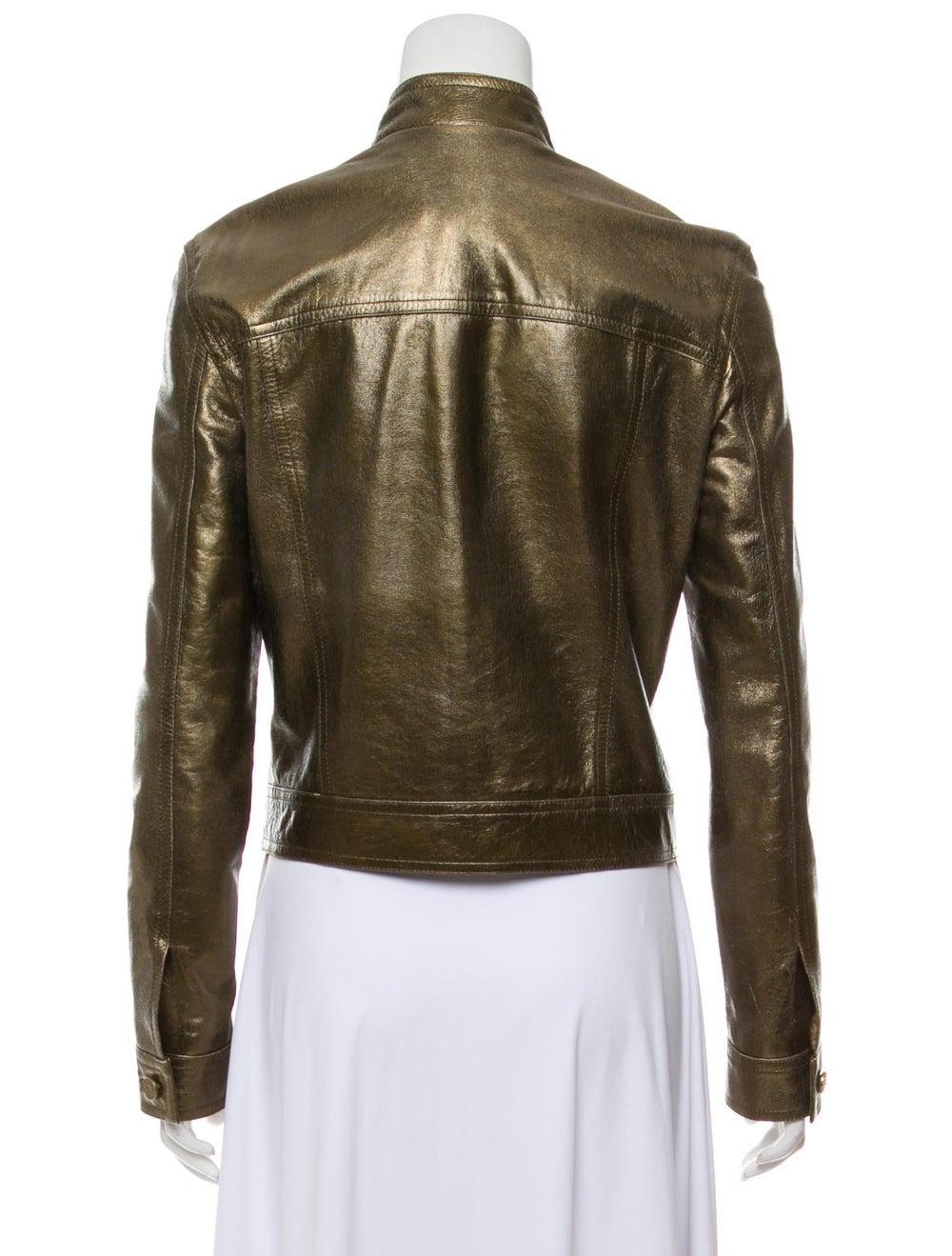 Celine Metallic Leather Jacket Gold - image 3